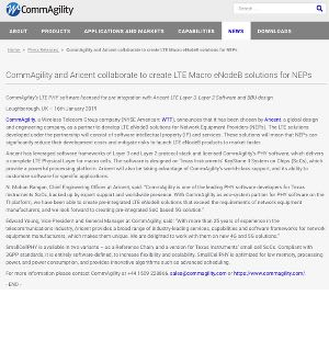 CommAgility and Aricent collaborate to create LTE Macro eNodeB solutions for NEPs