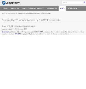 CommAgility LTE software licensed by EUCAST for small cells